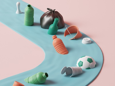 Recycled park pink park editorial illustration c4d