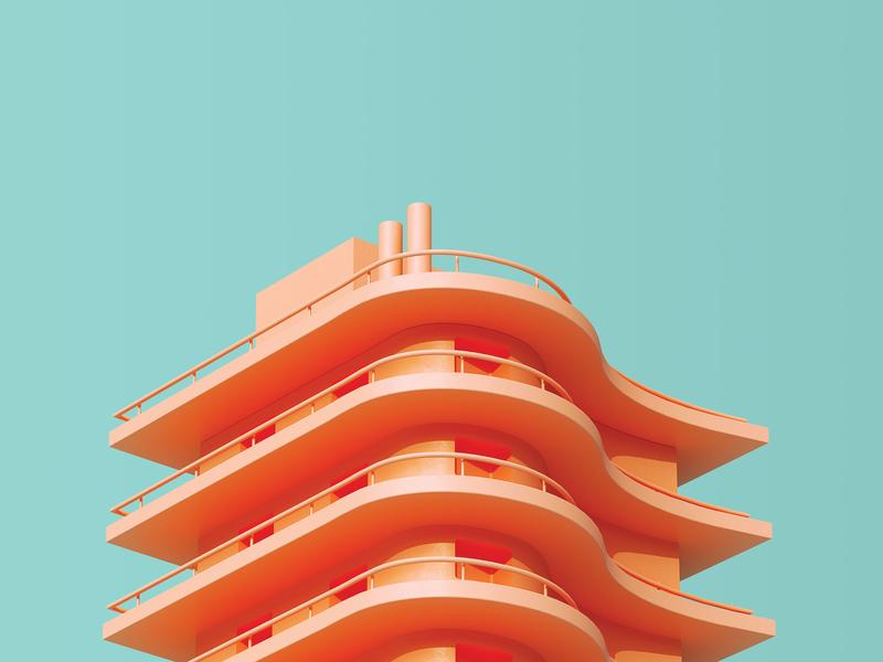 Casablanca architecture cinema4d illustration editorial c4d
