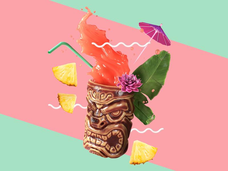 Tiki Cocktail drinks cocktail tiki illustration cinema4d c4d