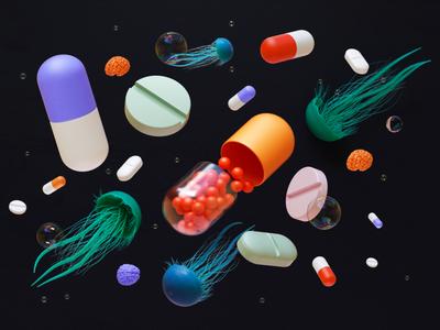 Jellyfish and pills pills jellyfish 3d editorial cinema4d illustration c4d