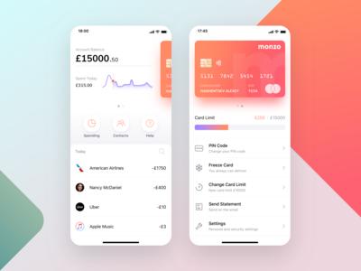 Monzo mobile bank app concept