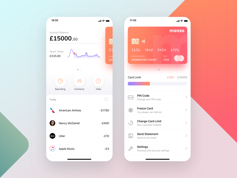 Monzo mobile bank app concept mobile banking mobile app design banking dashboard finance fiat credit card card atm wallet app charts chart app fintech financial app mobile monzo