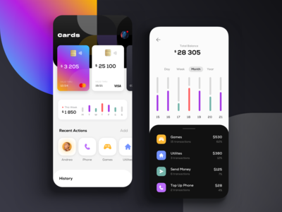 Mobile Banking Concept crypto wallet product design pfm mobile fintech financial app tranding dashboard crypto graph chart cc card blockchain bitcoin banking app banking bank atm app