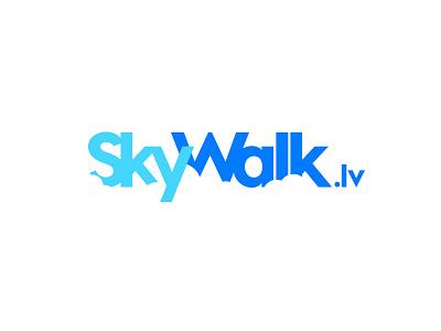 SkyWalk logo minimal fly cloud blue summer concept walk sky logo