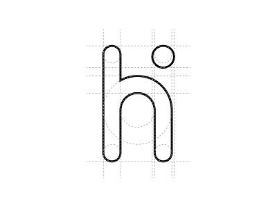 h i lettermark identity app brand mark letter system grid logo