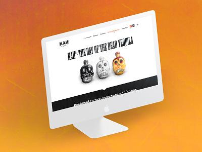 KAH Tequila landing page skull orange page landing identity web design product drink tequila kah