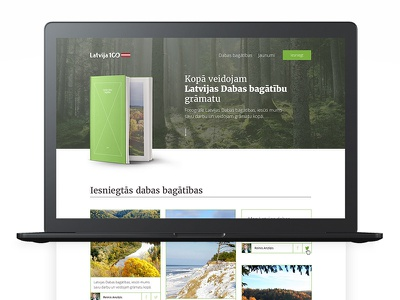 Latvia's nature treasures page landing nature photography product book design web