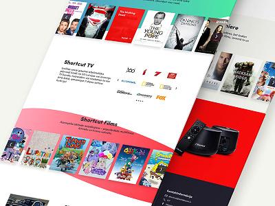 Shortcut Box shortcut movies television product tv design web page landing