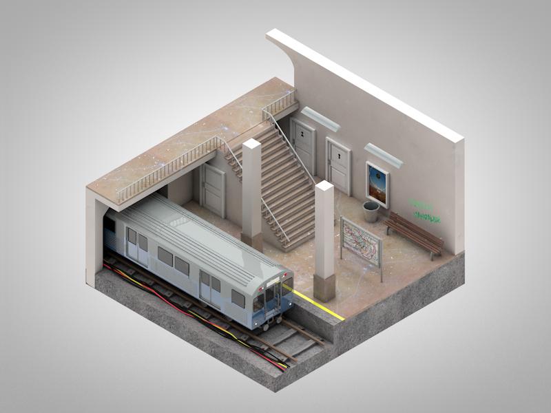 Subway_iso subway 3d isometric iso cinema 4d train