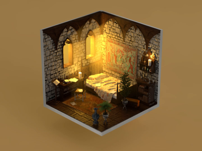 When deadline hits... No.2 medieval architecture interior design symulation window 3d animation 3d monk interior isokoll isometric petrkoll