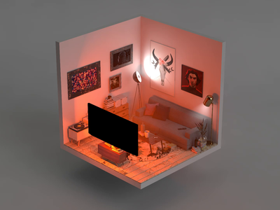 When deadline hits... No.3 livingroom red interior isokoll iso illustration isometric 3d petrkoll
