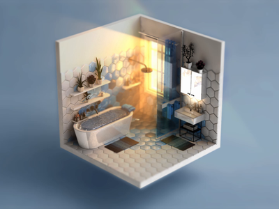 When deadline hits... No.5 blue float water animation deadline isokoll isometric petrkoll 3d