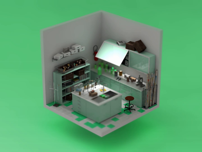 When deadline hits... No.6 3d isometric deadline lab interior animation isometric illustration isokoll petrkoll