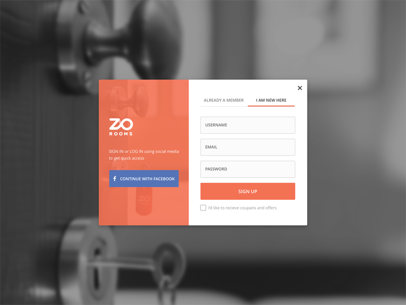 Zo Rooms Signup/Login card name facebook email password signup login zo rooms