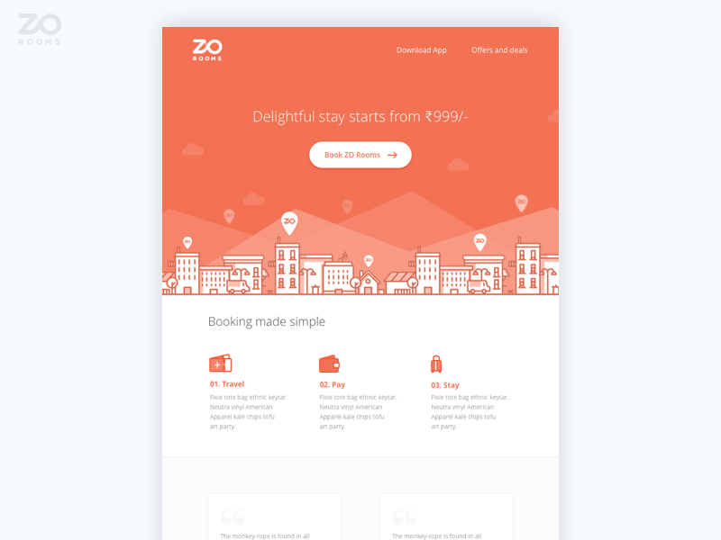 Zo Welcome HTML Email design ui illustration web testimonials booking hotel orange email html zo rooms