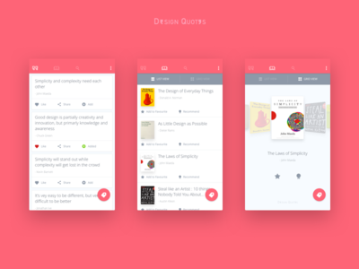Design Quotes App Concept like favourite tags android ios app quotes design books