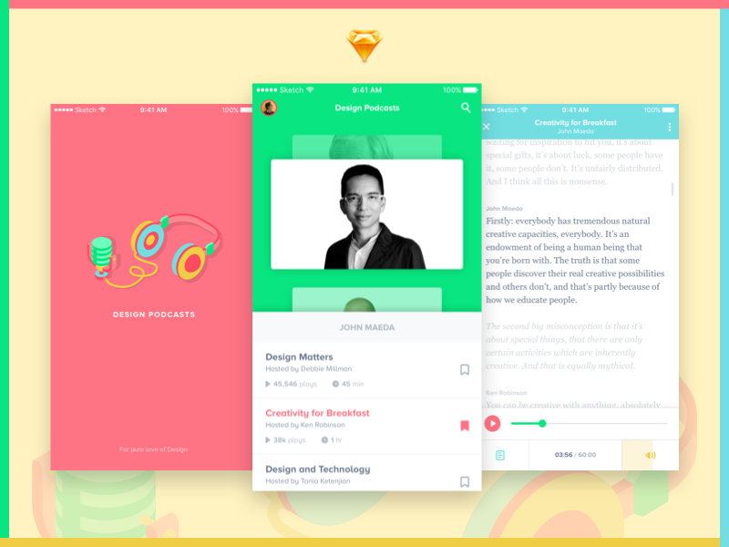 Design Podcast iOS App Freebie isometric headphones don norman john maeda concept transcript blog ui freebie ios colours design podcast