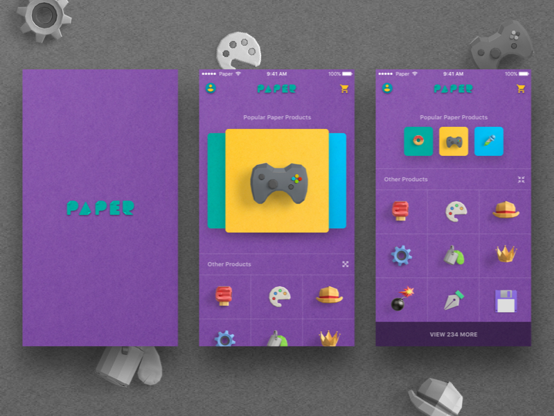 Paper UI objects green yellow blue purple gamepad cards colors ios paper