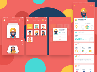 Persona App ux ui user testing technology goals interest job apps colorful template persona