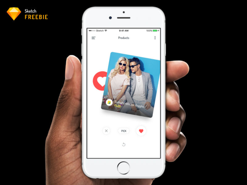 Product Swipe Gesture pick delete like swipe right ios app ecommerce