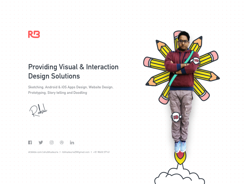 My Promotional Website logo hero share rahul interaction design visual design pencil design branding