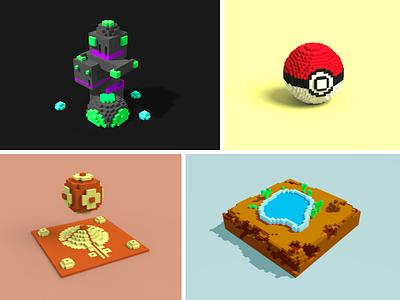 Isometric Scene desert pool ball pokemon temple building 3d magixvoxel plain isometric pixels