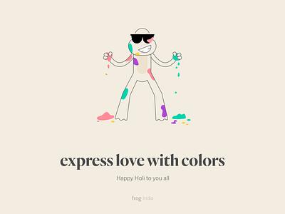 Happy Holi illustration holihai frogindia frog love festival india colors holi