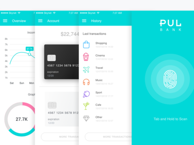 PUL BANK money designer germany berlin interface app banking ux ui adobe adobepartner madewithadobexd