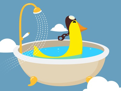 First Fly first fly duck bath shower plane pilot animation full secs animade