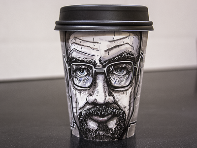 Walter White Coffee Cup Illustration walter white breaking bad coffee cup coffee illustration marker