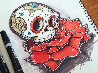 Skull Tattoo Marker Sketch skull tattoo peony flower red sketch marker design