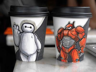 Baymax Coffee Cup Art baymax coffee illustration cup sketch doodle marker bighero6 disney