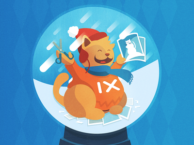 imgix holiday card illustration cat kitten scarf texture holidays blue vector snow globe illustration illustrator orange
