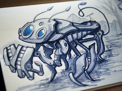 Trilo-bot Robot Sketch robot illustration sketch marker rendering sketchbook