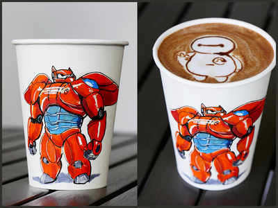 Baymax Coffe Cup Collabo with @melaquino bighero6 disney baymax marker sketch latte illustration cup coffee