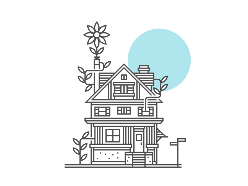 Fertile Ground house flower vines vector line illustration