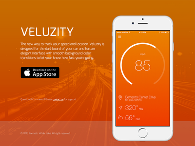 Veluzity landing app store landing page weather direction speedometer app ios
