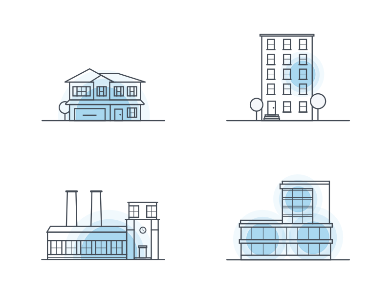 Cel Fi Product Applications office factory apartment house illustration icon booster cel-fi