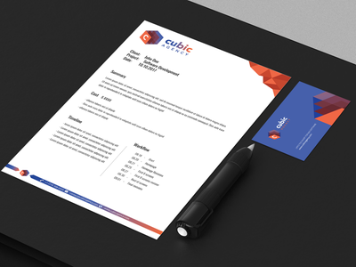 Cubic Agency Letterheads design logo branding web agency letterhead