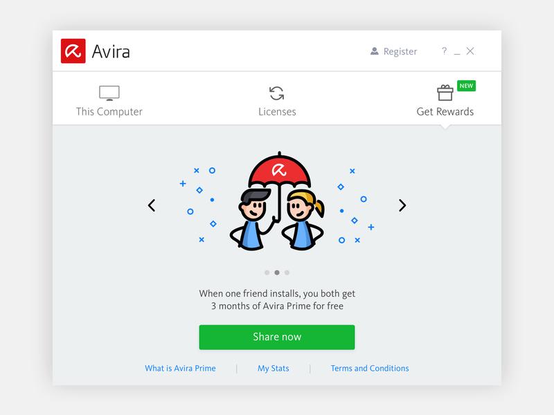 Avira Referral Program interface template sketch design ux user interface app ui antivirus security avira