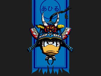 Disney Samouraïs - The duck 🈳️ donald duck duck disney samourai illustration procreate pixar art line art japanese japanese style rought style