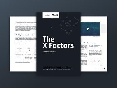 X&O Labs + Hudl Preseason Football Report sports marketing football booklet page layout print