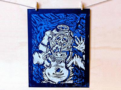 Deep Sea Death - Linocut Print linocut linoleum block print relief deep sea sea diver deep sea diver octopus underwater blue white navy