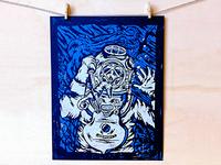 Deep Sea Death - Linocut Print