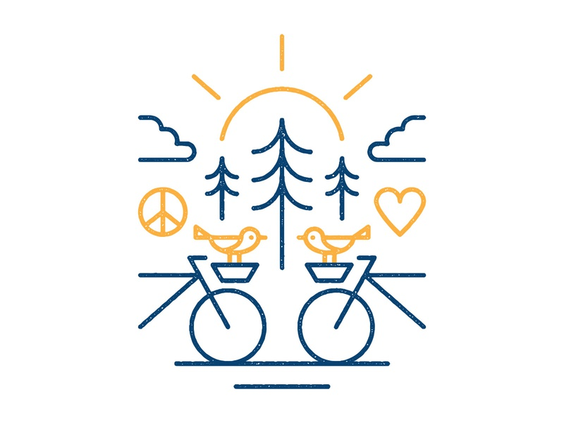 Happy Bikes texture vector illustration illustrator happy sun tree heart peace birds bicycle bikes