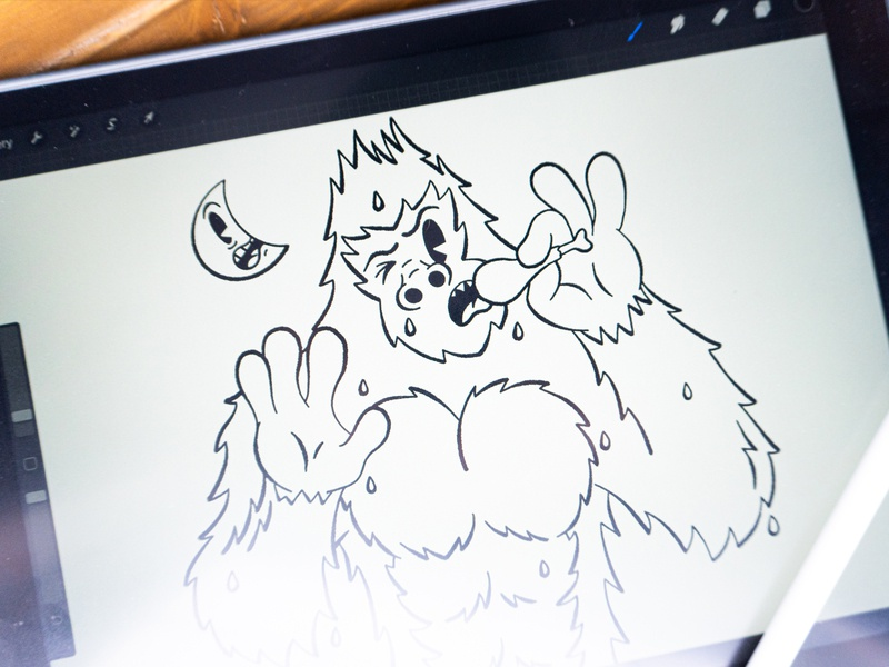 Sweaty Yeti procreate ipad illustration cartoon 1930s moon abominable snowman yeti