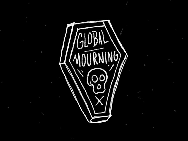 Global Mourning procreate sketch illustration death coffin skull