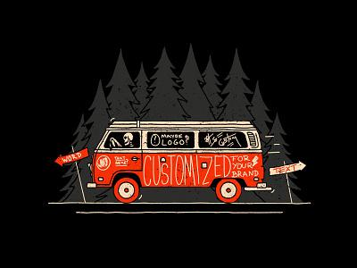 Adventure Van illustration trees handlettering lettering skull skeleton vw vw van vw bus