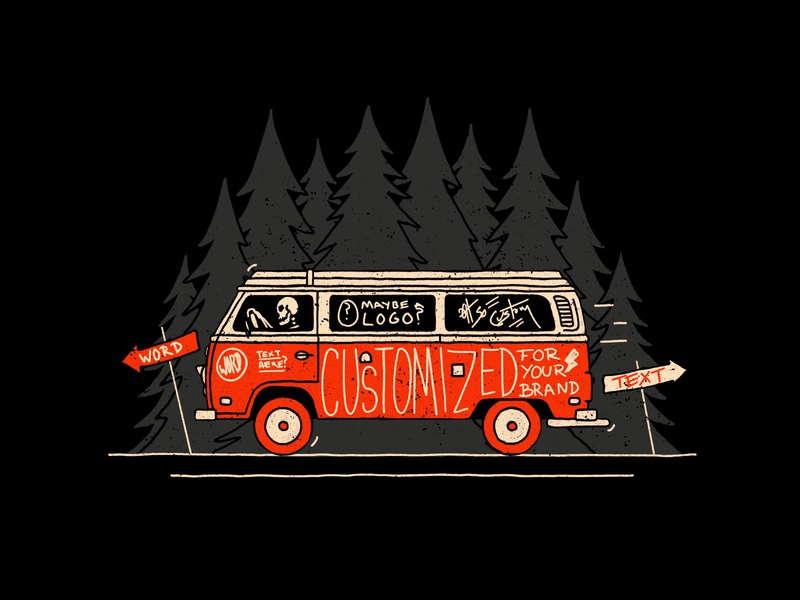 Adventure Van illustration trees handlettering lettering skull skeleton vw vw van vw bus