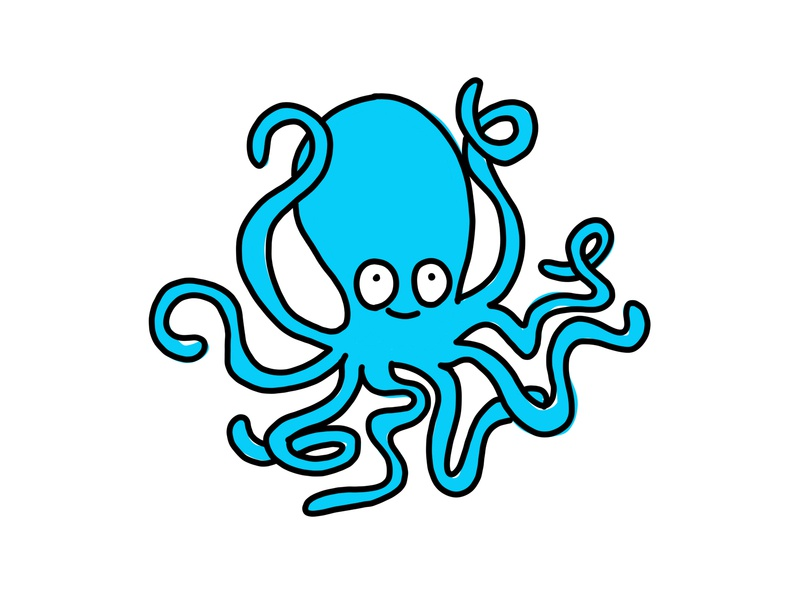 HMNIM Squiggles illustration doodle sketch happy black blue cartoon octopus